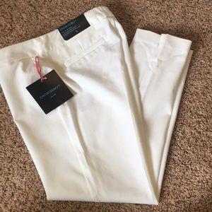 NWT Cynthia Rowley Flat Front Slim Crop Pant White